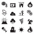 Global warming , Disaster , catastrophe icons set