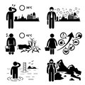 Global warming greenhouse effects cliparts a set of human pictogram representing and on earth environment this includes rising Stock Image