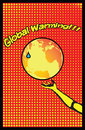 Global warming mother earth pop art poster hand with a hot temperature rising Royalty Free Stock Image