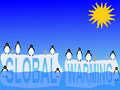 Global warming with penguins Royalty Free Stock Images