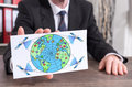 Global web network concept on an index card Royalty Free Stock Photo