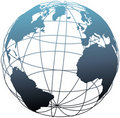 Global wireframe latitude Atlantic Earth globe Stock Photo