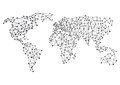 Global or world connections abstract illustrated map of the with business and social media concept Stock Photography