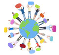 Global World Map People Circle Happiness Togetherness Concept Royalty Free Stock Photo