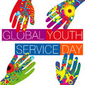 Global youth service day surrounded by colorful hands Royalty Free Stock Images