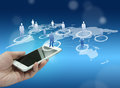 Globalization or social network concept background with new generation of mobile phone Stock Photos