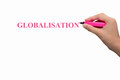 Globalization text inscribed in uppercase pink letters on white board hand holding pink pen concept of companies doing world wide Royalty Free Stock Photo