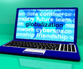 Globalization Word On Laptop Showing International Business Royalty Free Stock Photo