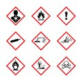 The Globally Harmonized System of Classification and Labeling of Chemicals vector on white background Royalty Free Stock Photo