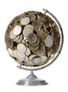 Globe of the 1 euro coin Royalty Free Stock Image