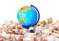 Globe against Russian banknotes Stock Photos