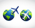 Globe airplane illustration design over a white background Stock Images