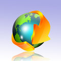 Globe with arrow earth s orange on a bright surface Royalty Free Stock Photography