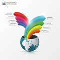 Globe with arrows. Infographic design template. Vector Royalty Free Stock Photo