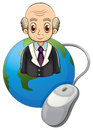 A globe with a bald old man and a computer mouse illustration of on white background Stock Images