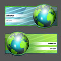 Globe banners set of two Stock Image