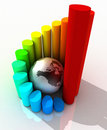 Globe and Bar Chart Stock Photo