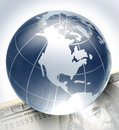 Globe on bill glass hundred dollar Stock Photography