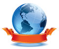 Globe with blank red banner earth with american continents Stock Image