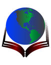 Globe on book logo a isolated Stock Image