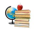 Globe books and apple isolated on white background stack of red close up a horizontal photo Stock Photography