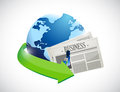 Globe and business newspaper illustration design over white Stock Photo