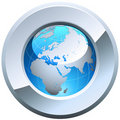 Globe button Royalty Free Stock Photo