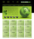 Globe calendar web template with in green Stock Photos