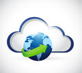 Globe and cloud illustration design over a white background Royalty Free Stock Photo
