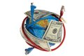 Globe coiled with wires and dollars on a white background Stock Image