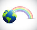 Globe and colorful rainbow illustration design over a white background Stock Photo