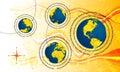Globe communications Stock Photo
