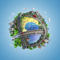 Globe concept of the world and life styles showing diversity transport in in a cartoony style Stock Photo