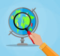 Globe with continents and magnifying glass Royalty Free Stock Photo