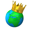Globe with crown golden on the white background Stock Photo