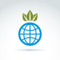 Globe with crown of leaves growing icon ecological environment theme concept vector conceptual unusual symbol for your design Royalty Free Stock Photo