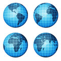 Globe dark blue continents and blue ocean four of the with different angles Stock Images