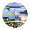 Globe design with photographs nature Royalty Free Stock Photo