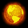 Globe Earth hot flare isolated Royalty Free Stock Photo