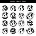 Globe earth icon set on white background Credit NASA Royalty Free Stock Photo