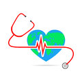 Globe Earth with stethoscope and Heartbeat sign. Vector Illustration
