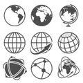 Globe earth vector icons set Royalty Free Stock Photo