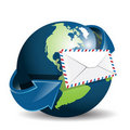 Globe and envelope Stock Photos