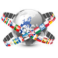 Globe with european union countries and flags vector illustration of Royalty Free Stock Photo
