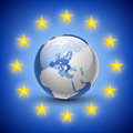 Globe with european union countries vector illustration of Royalty Free Stock Photos