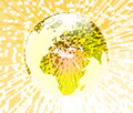 Globe extrude d illustration of a transparent earth over top of a yellow extruded pixel background Royalty Free Stock Photos
