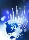 Globe on Fiber Optic Background Royalty Free Stock Photo
