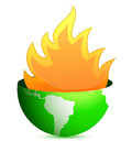 Globe with fire flames Stock Images