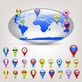 Globe with flags Royalty Free Stock Photos