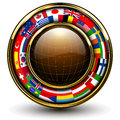 Globe with flags around Royalty Free Stock Photo